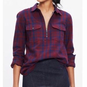 Madewell Flannel Plaid Zip Front Popover Top